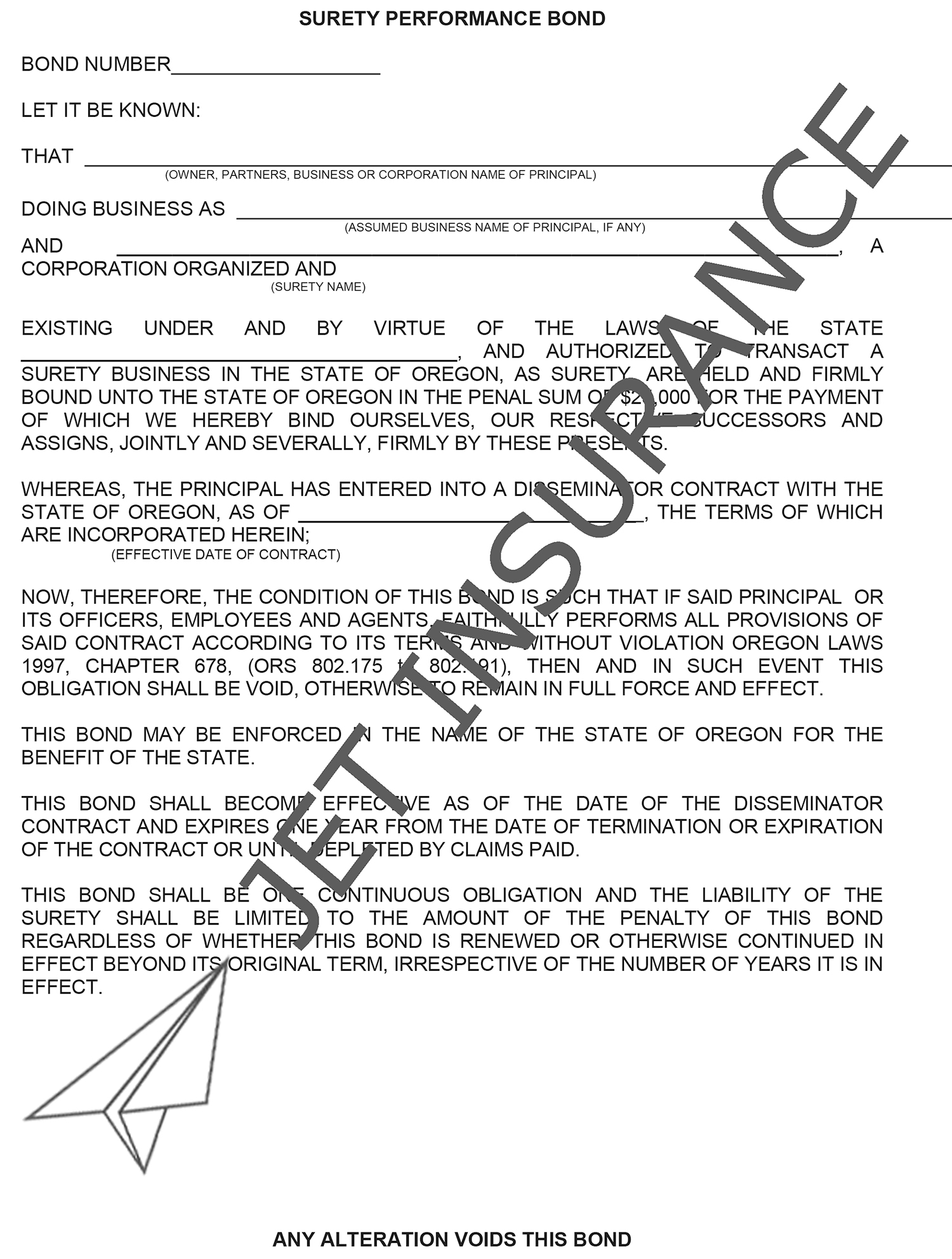 Oregon Disseminator Bond Form