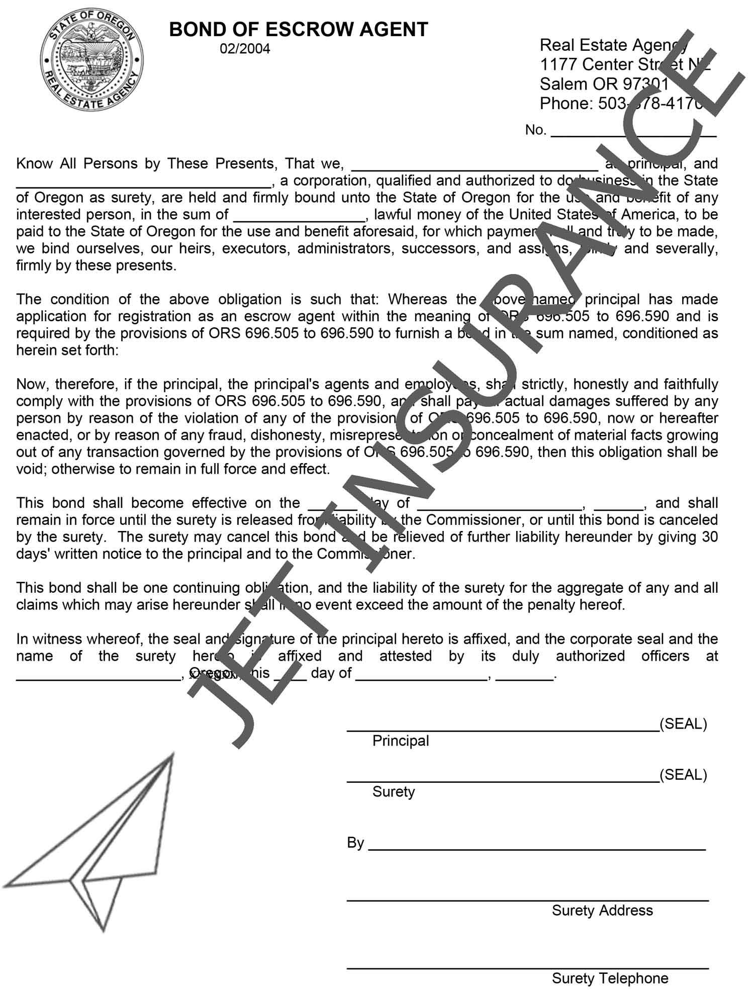 Oregon Escrow Agent Bond Form