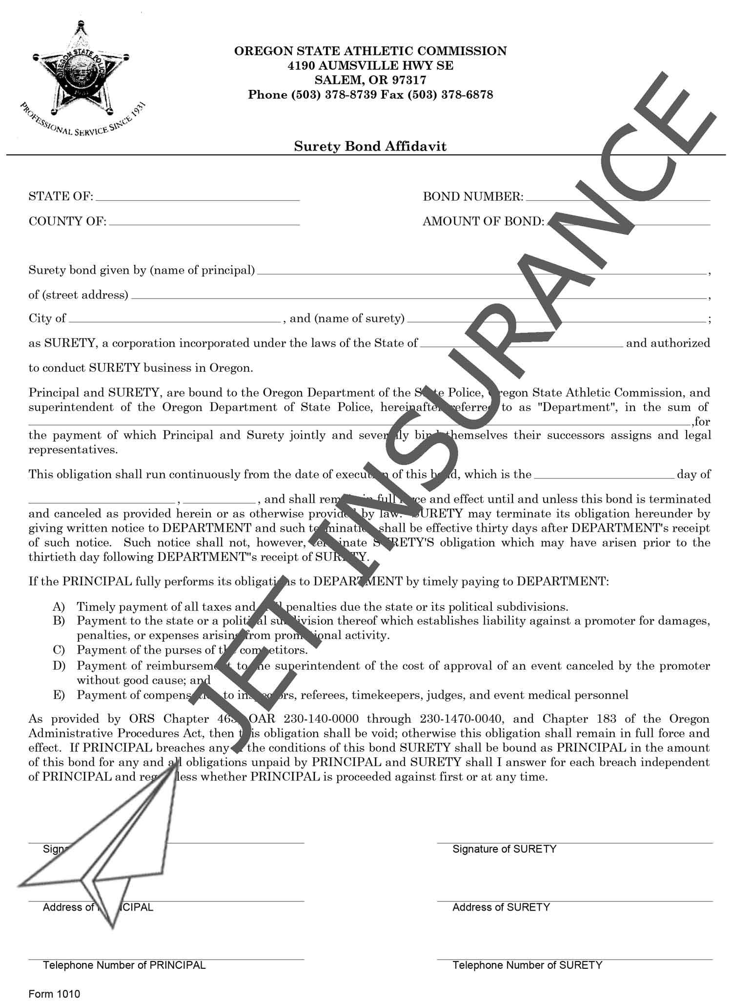Oregon Fight Promoter License Bond Form