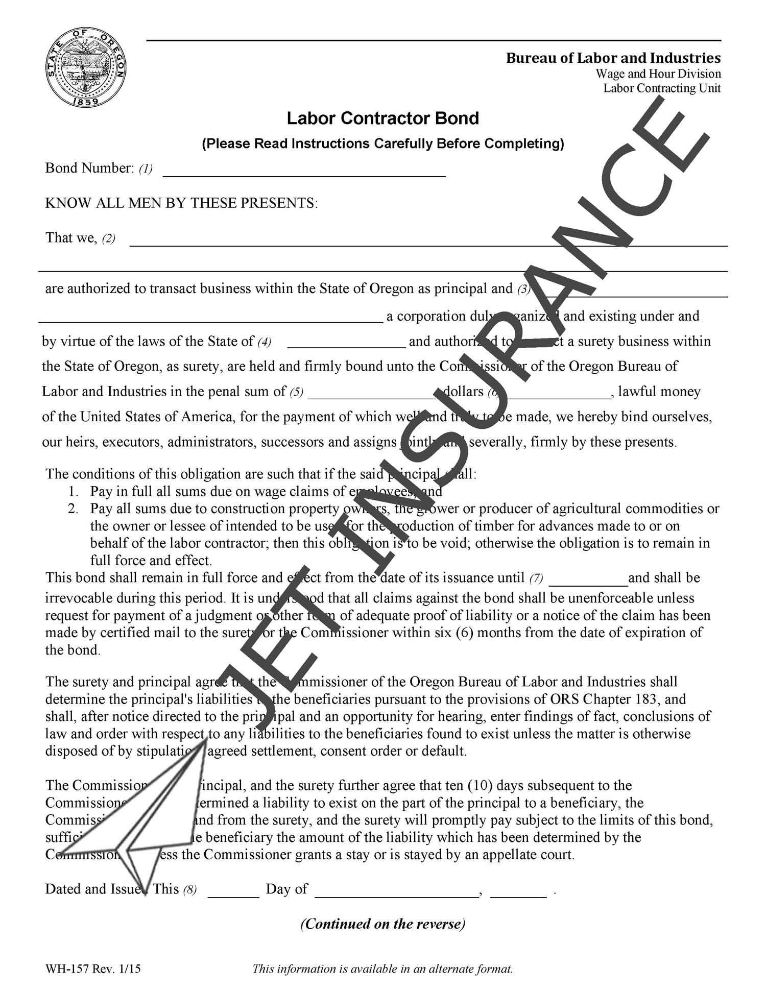 Oregon Labor Contractor Bond Form