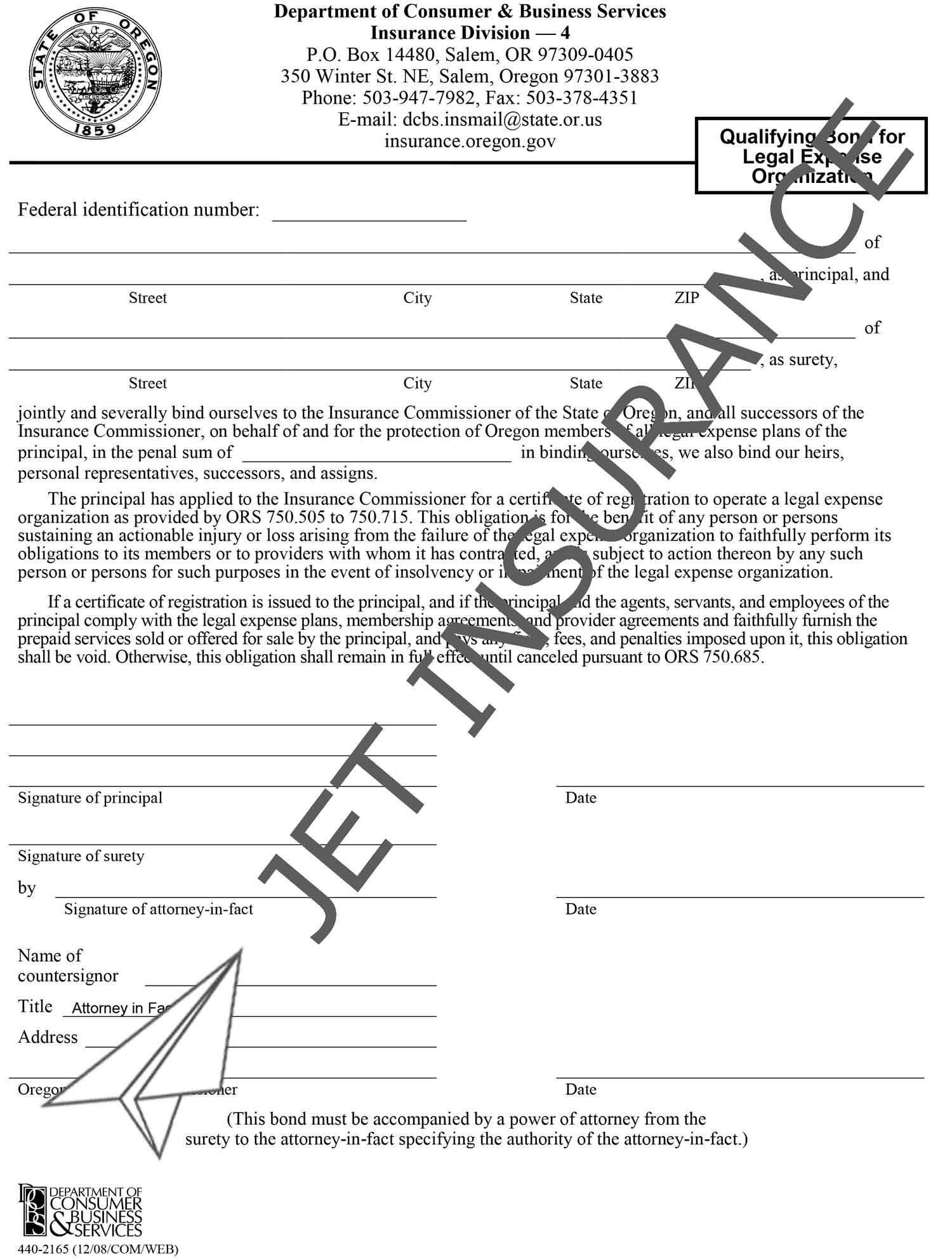 Oregon Legal Expense Bond Form
