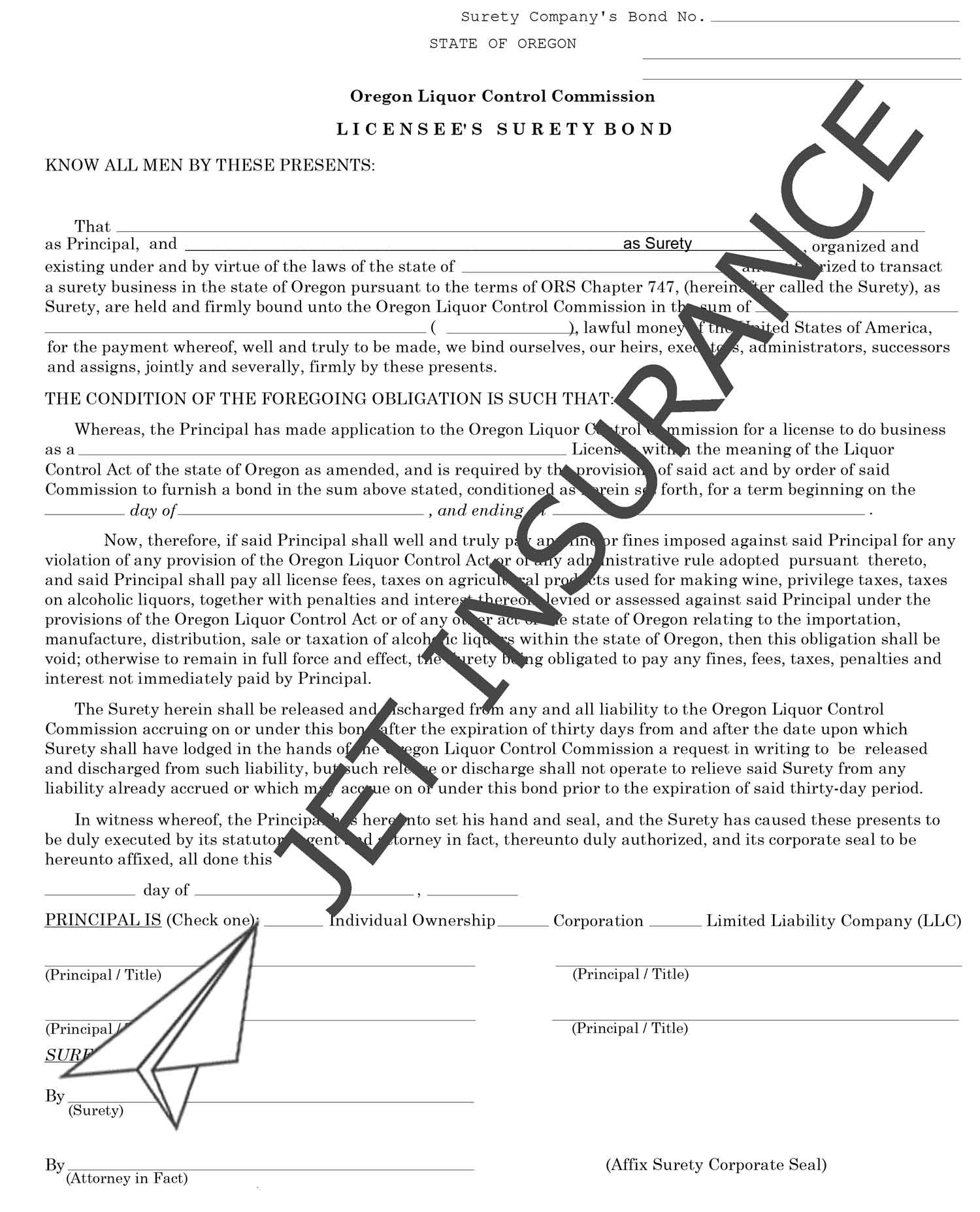 Oregon Liquor Control Commission Bond Form
