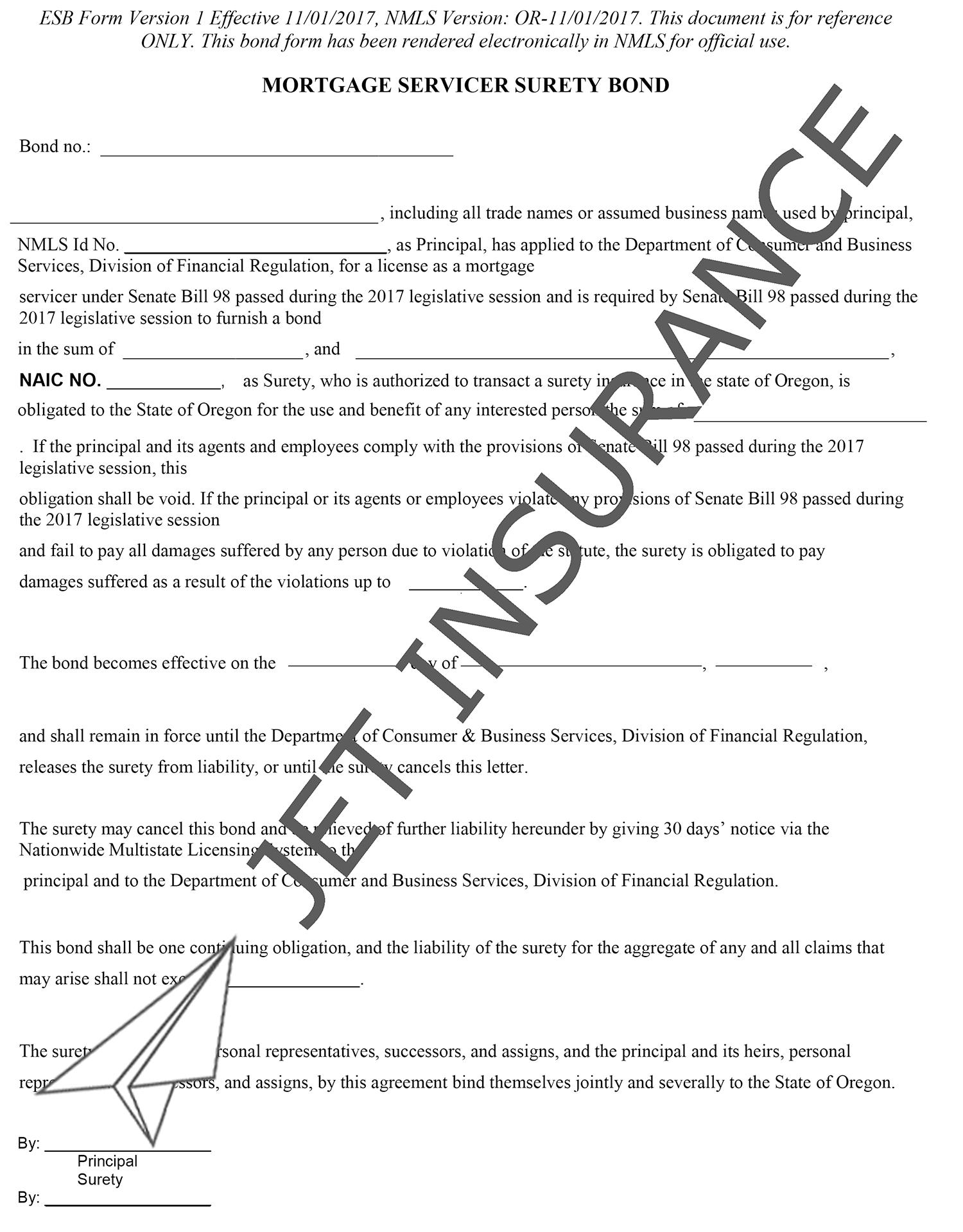 Oregon Mortgage Servicer Bond Form