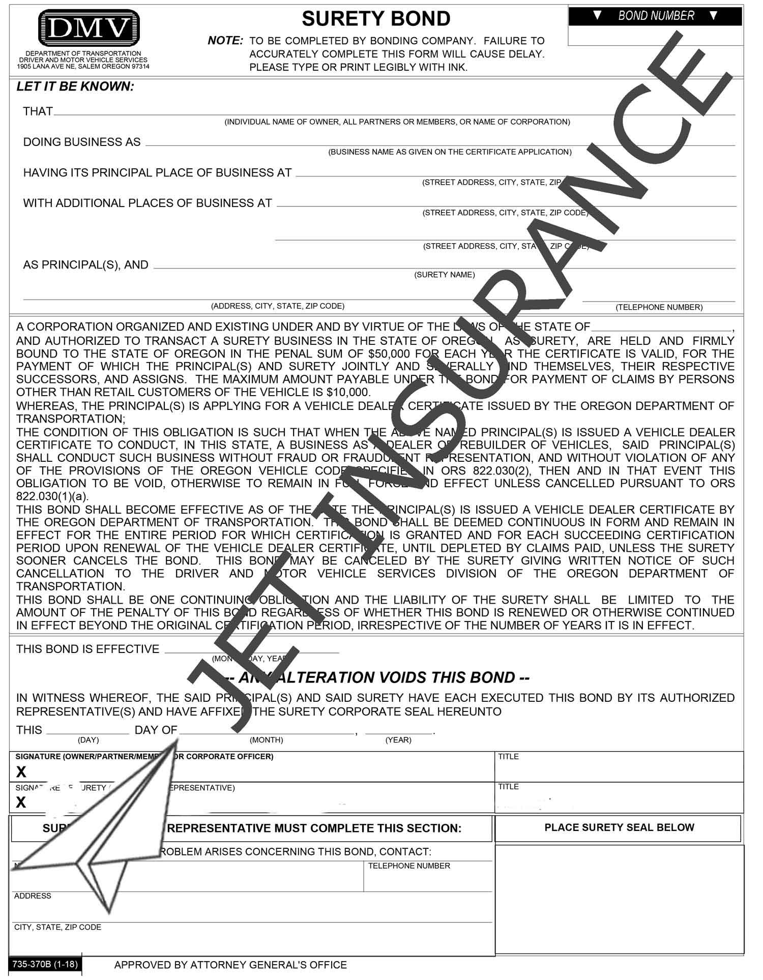Oregon Auto Dealer Bond Form