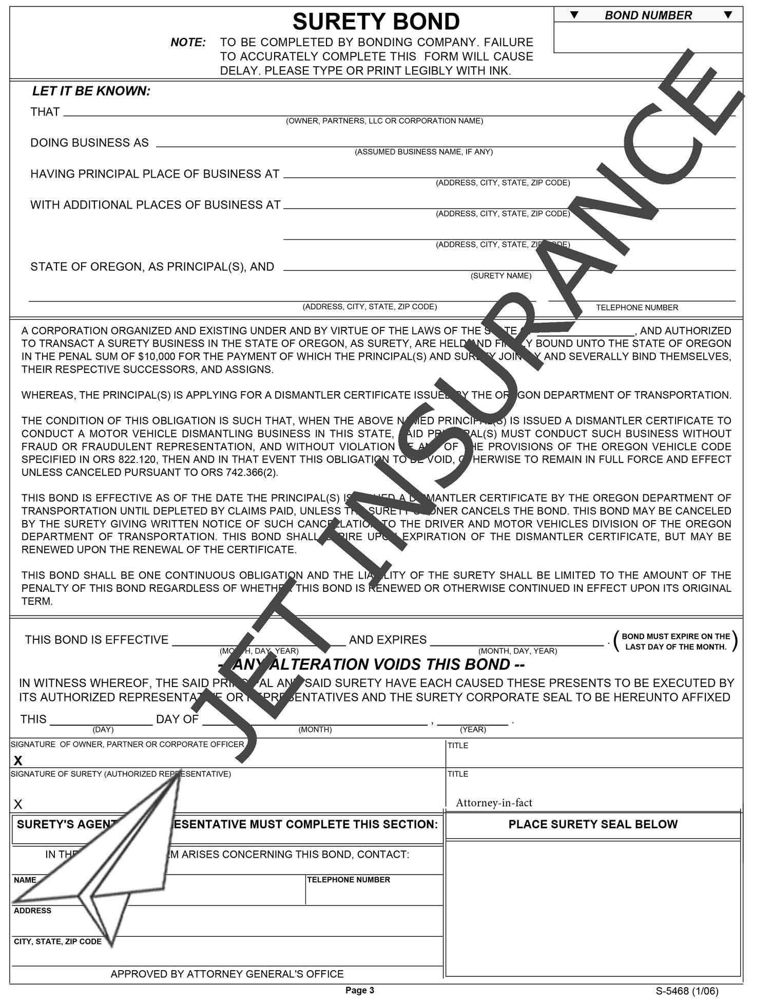 Oregon Motor Vehicle Dismantler Bond Form
