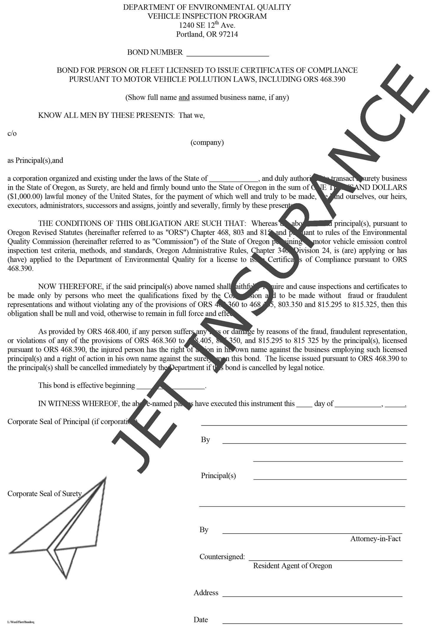 Oregon Motor Vehicle Inspection Bond Form