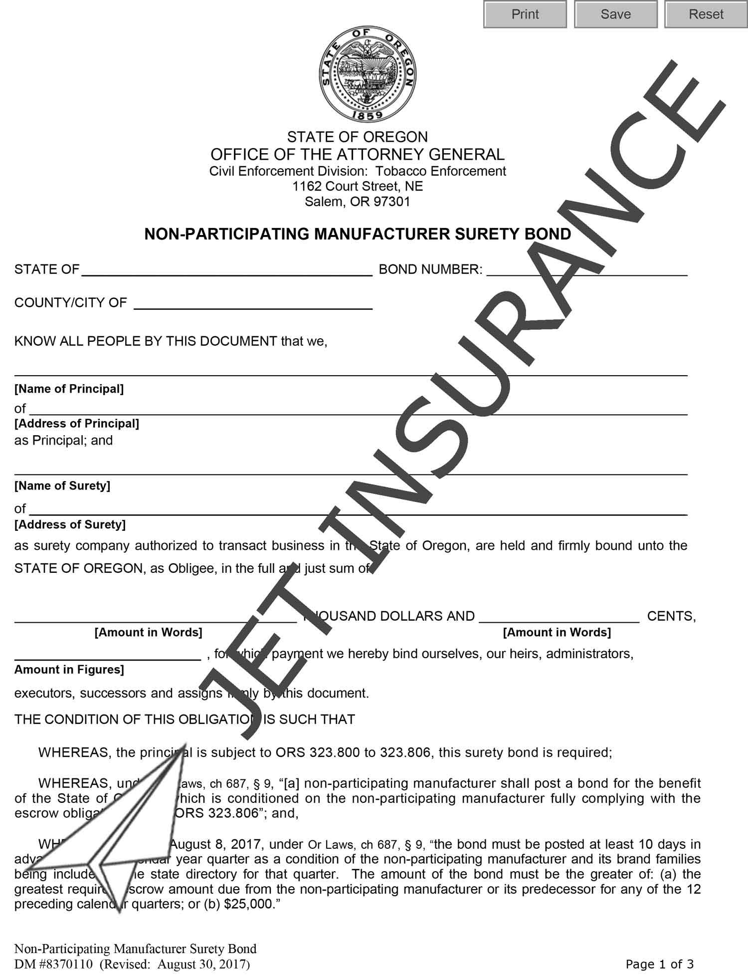 Oregon Non-Participating Manufacturer Bond Form