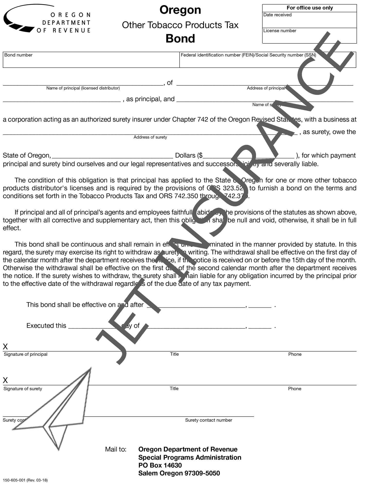 Oregon Other Tobacco Products Tax Bond Form