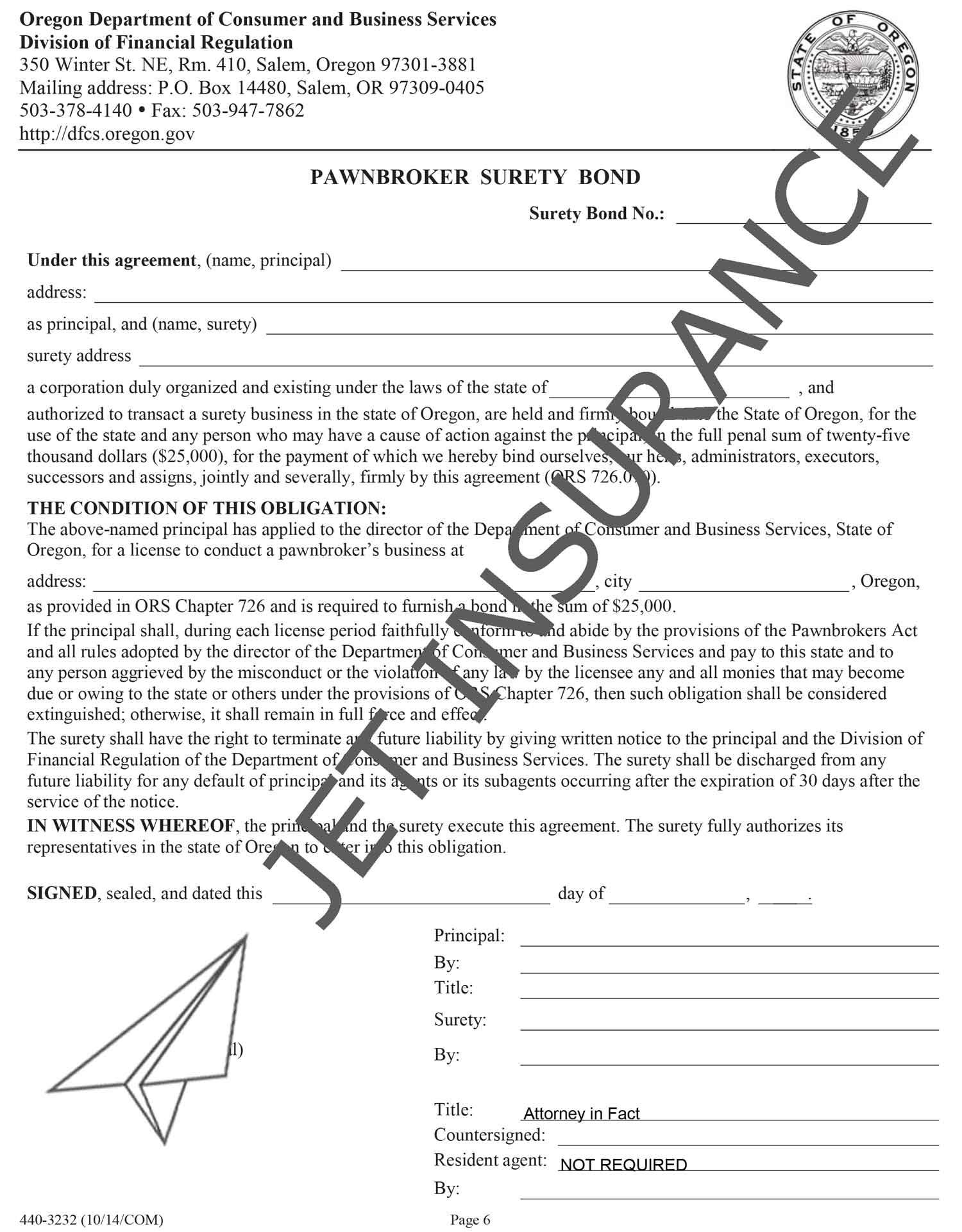 Oregon Pawnbroker Bond Form
