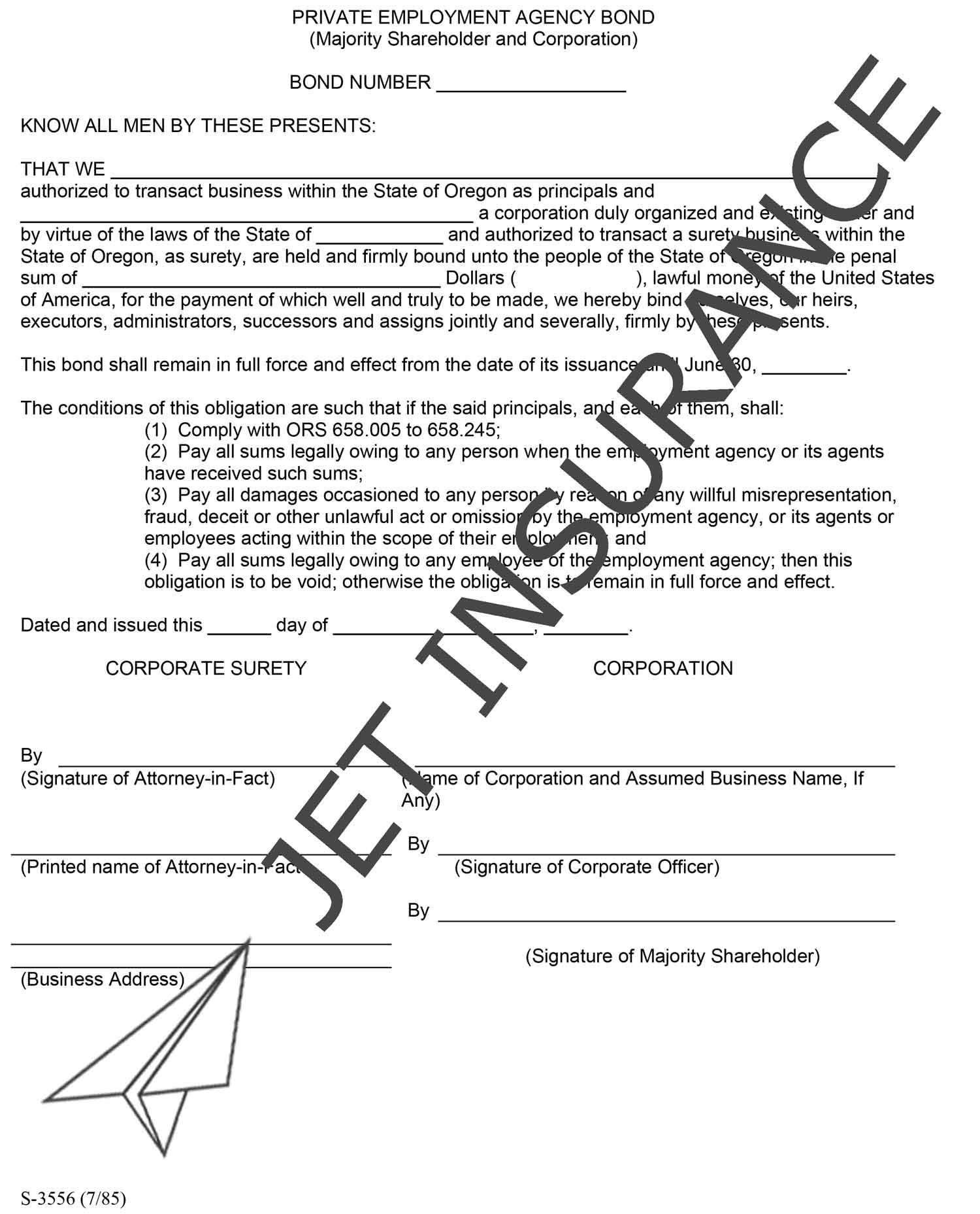 Oregon Private Employment Agency Bond Form