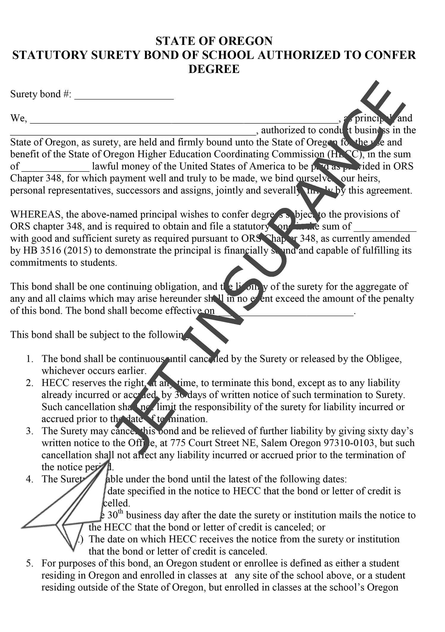 Oregon School Authorized to Confer Degree Bond Form