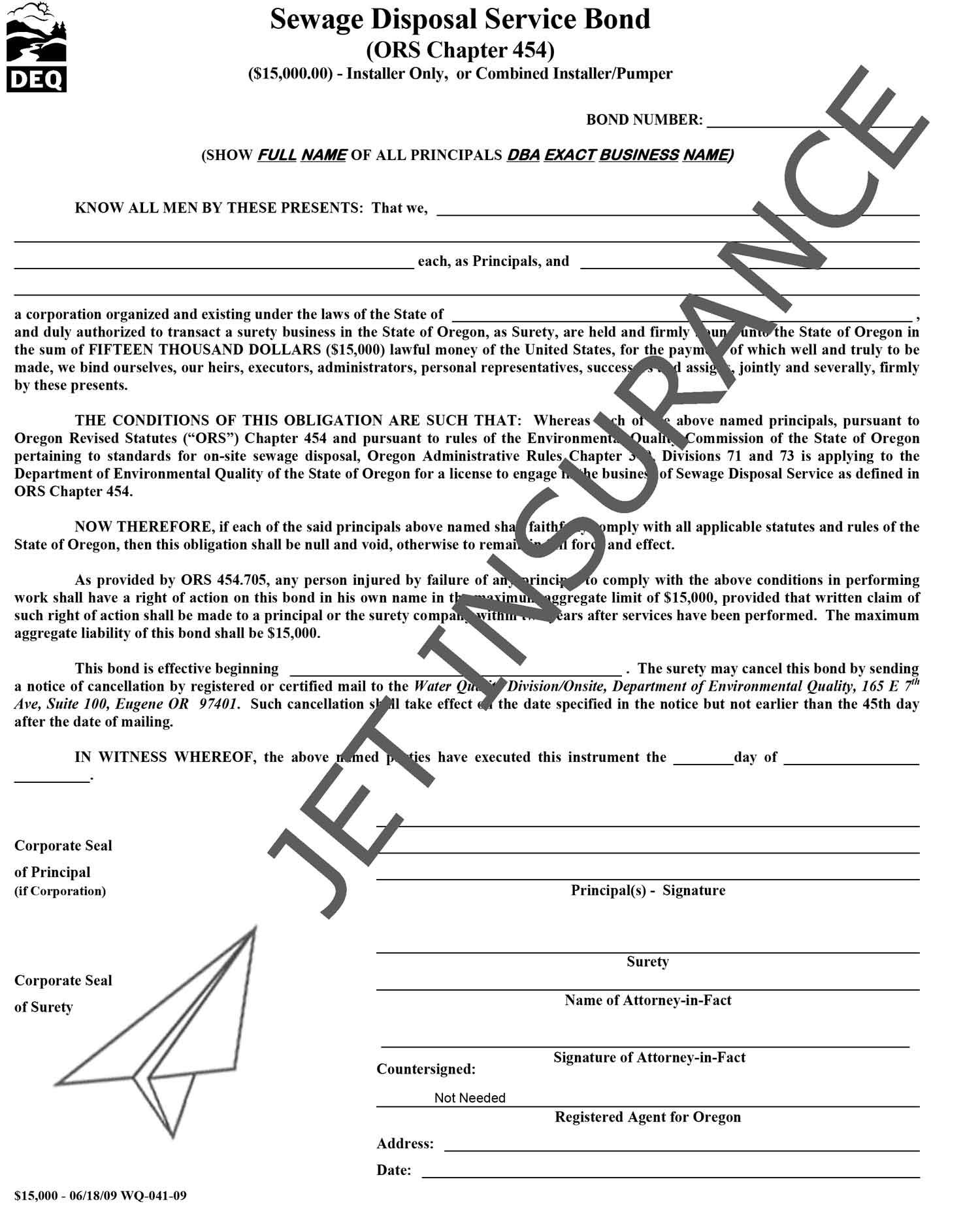 Oregon Sewage Disposal Service Installer Bond Form