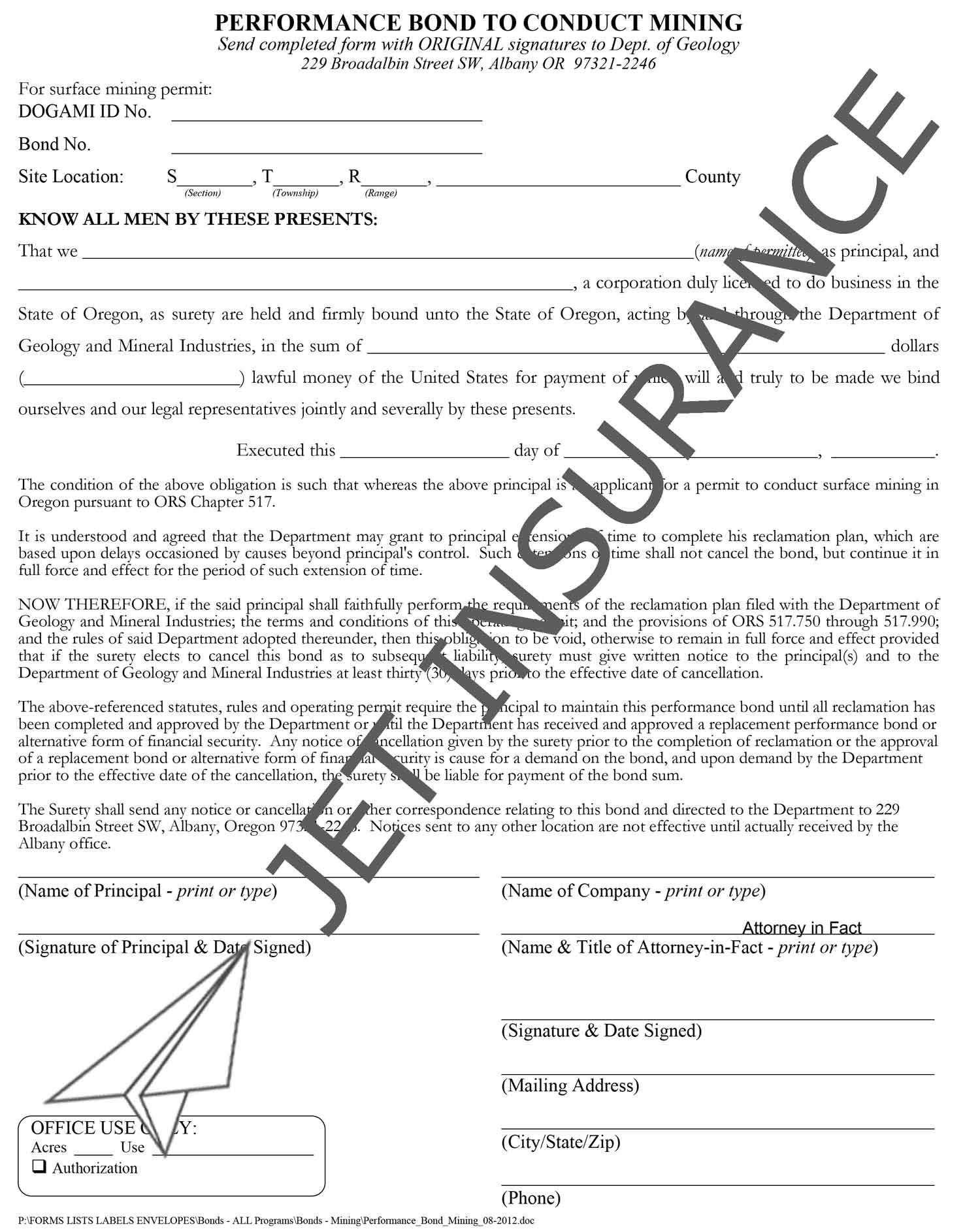 Oregon Surface Mining Permit Bond Form