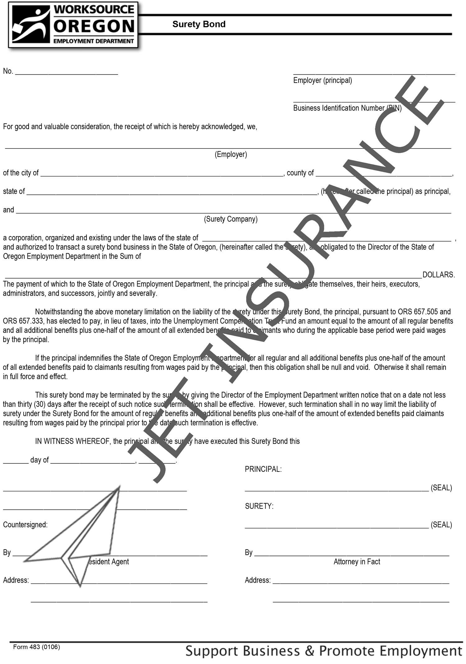 Oregon Unemployment Compensation Trust Fund Bond Form