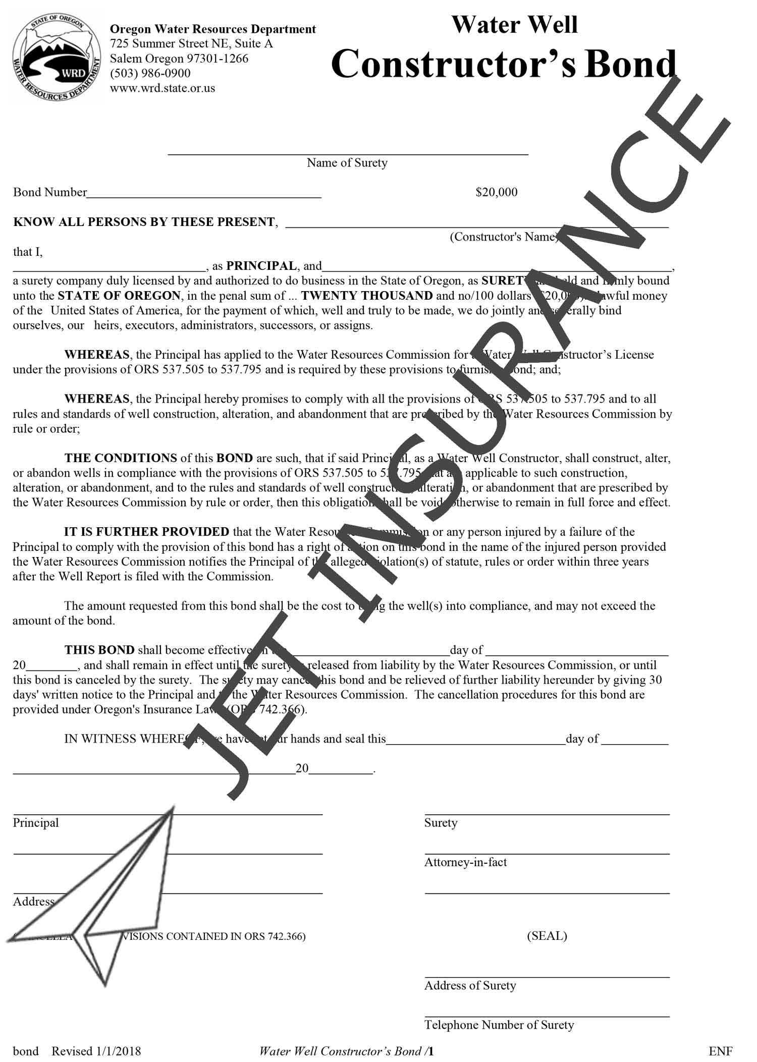 Oregon Water Well Constructor Bond Form